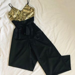 Forever 21 gold and black pantsuit